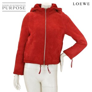 ロエべ LOEWE ムートン レザー ジャケット 革 レッド 赤 サイズ 36 レディース|purpose-inc