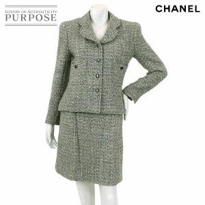 シャネル CHANEL ツイード スカート セットアップ スーツ 長袖 グレー サイズ 38 97A レディース|purpose-inc