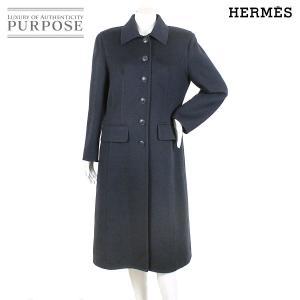 エルメス HERMES カシミヤ コート ロング アウター ネイビー サイズ 42 レディース|purpose-inc