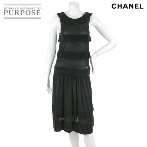 0720fc5e729c シャネル CHANEL ワンピース ドレス ニット フリル ノースリーブ ココ CC ブラック サイズ 36 06P レディース