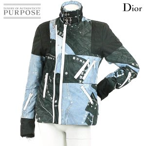 クリスチャン ディオール Christian Dior ナイロン ジャケット 柄 襟ベルト付き ブラック ブルー サイズ 36 レディース|purpose-inc