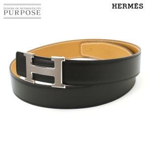 未使用 展示品 エルメス HERMES コンスタンス H ベルト ボックスカーフ リバーシブル ブラック ナチュラル 75|purpose-inc