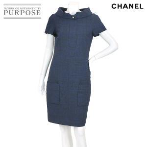 f711f60fd5b6 シャネル CHANEL ワンピース 半袖 ウール ボタン ブルー サイズ 38 P44 ランダム レディース