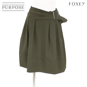 フォクシー ニューヨーク FOXEY NEW YORK スカート ベルト ミニ丈 ブラウン サイズ 38 レディース|purpose-inc