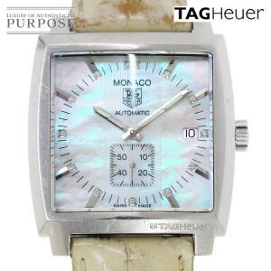 タグホイヤー TAG HEUER モナコ WW2113 レディース 腕時計 ダイヤ デイト シェル 文字盤 自動巻き オートマ ウォッチ|purpose-inc