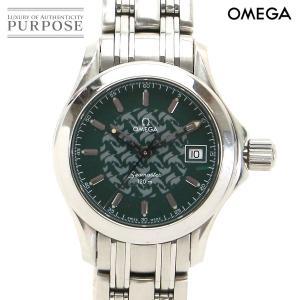 オメガ OMEGA シーマスター120 ジャックマイヨール 2586 70 1998年 2500本限定 レディース 腕時計 デイト グリーン 文字盤 クォーツ ウォッチ purpose-inc