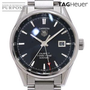 タグホイヤー TAG HEUER ツインタイム キャリバー7 WAR2010 BA0723 メンズ 腕時計 デイト ブラック 文字盤 自動巻き オートマ ウォッチ|purpose-inc