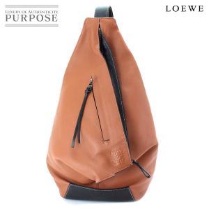 ロエベ LOEWE アントン バックパック リュック レザー ブラウン ブラック ロゴ|purpose-inc