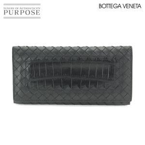 728cf10ed955 ボッテガ ヴェネタ BOTTEGA VENETA イントレチャート 札入れ 二つ折り 長財布 レザー クロコダイル ブラック