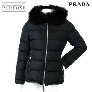79118363955f プラダ PRADA ダウン ジャケット アウター ファー付き 中綿 ブラック サイズ 40 レディー.