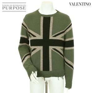 ヴァレンティノ VALENTINO ニット セーター カシミヤ アウター 英国旗 グリーン サイズ ...