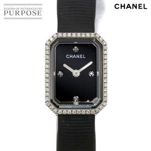 シャネル CHANEL プルミエール H2434 ダイヤベゼル レディース 腕時計 4Pダイヤ ブラ...