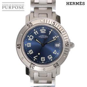 エルメス HERMES クリッパー ダイバー CL7 710 メンズ 腕時計 デイト ブルー 文字盤...