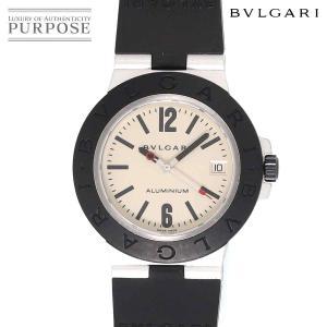 ブルガリ BVLGARI アルミニウム AL38A メンズ 腕時計 デイト シルバー 文字盤 ラバー...