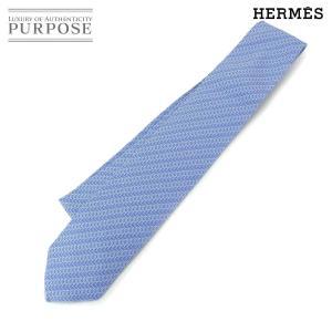 未使用 エルメス HERMES ネクタイ シルク 100% ブルー 小物