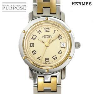エルメス HERMES クリッパー コンビ CL4 220 レディース 腕時計 デイト アイボリー ...