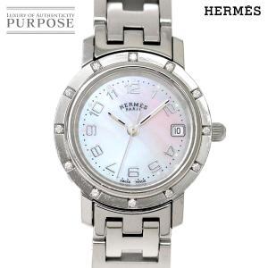 エルメス HERMES クリッパー ナクレ CL4 230 ダイヤベゼル レディース 腕時計 デイト...