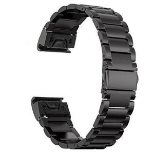 GARMIN(ガーミン) Fenix 5X用 交換バンド/ベルト クイックフィット瞬時取り付け ステンレス鋼 26mm Garmin Fenix 5X/3/3 HR D2 Charlie/Descent Mk1 ガーミン purrbase-store