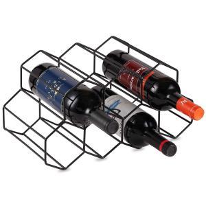Lesige 金属製 ワインボトルホルダー ワインスタンド 積み重ね式 ワイン棚 7本用 ワインラック ワイン収納 シャンパンホルダー ワインストレージ 家飾り (ブラッ purrbase-store