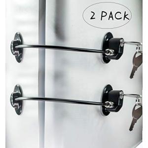 冷蔵庫ドアロック 2個パック 鍵4つ ファイル引き出しロック 冷凍庫ドアロック 子供安全キャビネットロック REZIPO ブラック purrbase-store