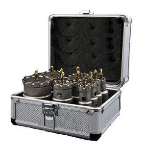 ホールソー 10pcs 超硬ホルソーセット 鉄用 超硬セミロング HSS ハイス鋼 ホールカッター サークルソー スプリング付き|purrbase-store
