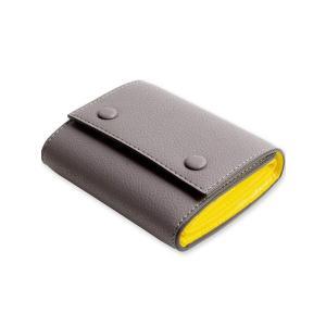 MALTA レザー 財布 三つ折り財布 牛革 ミニ財布 ボックス型 小銭入れ カード入れ 大容量 ツートンカラー 3つ折り コンパクト メンズ レディース 全5色 (greyyel purrbase-store