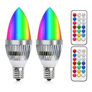 LED電球 カラー電球 E17口金 3W RGB マルチカラー C35電球 調色調光機能 タイミング機能 記憶機能 リモコン付き 明るさを控える 普段照明用 装飾照明電球 電球色 purrbase-store