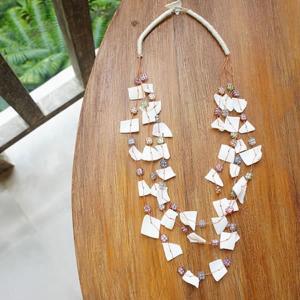 バリ製貝殻とビーズのネックレス/ホワイト|putihbali
