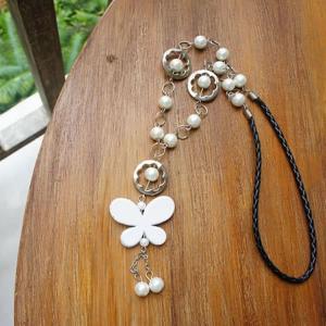 バリ製パールビーズと蝶モチーフのネックレス/ホワイト|putihbali