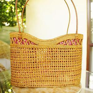 アタバッグLサイズ/透かし編み革紐ショルダー|putihbali
