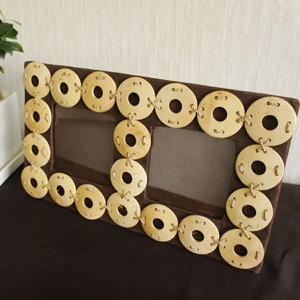 バリ製ココナッツの2窓フォトフレーム/サークル|putihbali