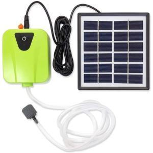 ソーラー充電式エアポンプ 【グリーン】 太陽光充電で電源不要 USB充電対応 エア吐出量毎分2L 静...