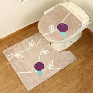 北欧 おしゃれ ロング トイレマット セット 2点 洗浄暖房型 普通型 トイレカバー 耳長サイズ ふわふわ 花 ベージュ ピンク エトフ オカ|pvd1