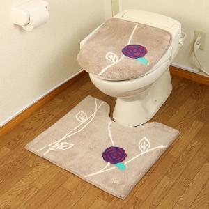 トイレマット フタカバー 2点セット 洗浄暖房型 普通型 オカ エトフ ベージュ ピンク  北欧 おしゃれ 花|pvd1