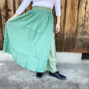 インド綿 無地 マキシ スカート 付き パンツ 綿クレープ|pwanpwan