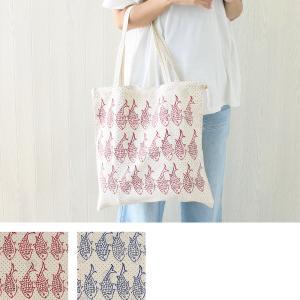 トートバッグ コットン ブロックプリント バッグ イラン製 魚柄 イスファハン|pwanpwan