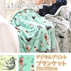 ブランケット デジタルプリント 73x100cm ひざ掛け 犬 猫|pwanpwan