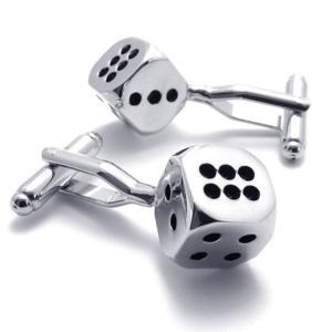 PW 高品質316Lステンレス 骰子 カフス ボタン 条件付 送料無料 21576 pwatch2014