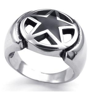 PW 高品質316Lステンレス 五芒星 指輪 条件付 送料無料 23386|pwatch2014