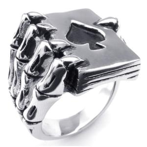 PW 高品質316Lステンレス 髑髏xスペード 指輪 条件付 送料無料 23399|pwatch2014