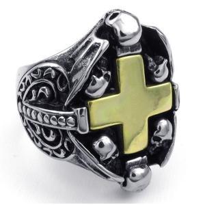 PW 高品質316Lステンレス 髑髏十字架 指輪 条件付 送料無料 23527