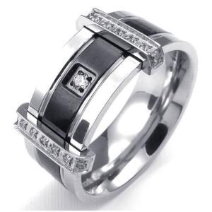 PW 高品質316Lステンレス ダイヤCZ  指輪 条件付 送料無料 23647