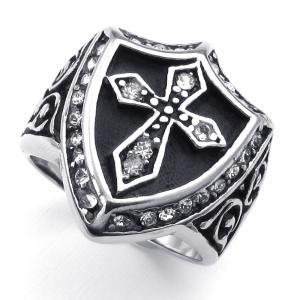 PW 高品質ステンレス CZダイヤ 十字架  指輪 条件付 送料無料 23800