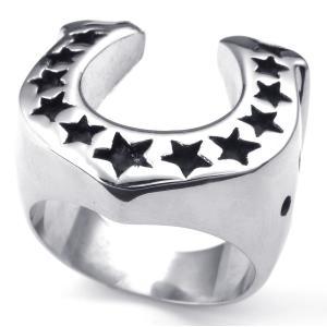 PW 高品質316Lステンレス 五芒星x馬の蹄 指輪 条件付 送料無料 24103|pwatch2014