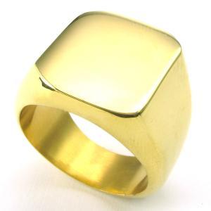 PW 高品質316Lステンレス 金色 印台 指輪 リング 条件付 送料無料 24463