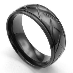 PW 高品質316Lステンレス シンプル 花柄 黒 指輪 条件付 送料無料 24739|pwatch2014