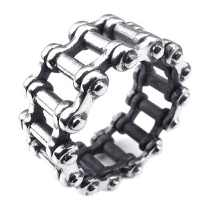 PW 高品質チタンとステンレス 自転車の鎖のデザイン指輪 / チェーンモチーフのリング シルバー 14-28号可選 幅13mm [ラッピング対応] 条件付送料無料25138|pwatch2014