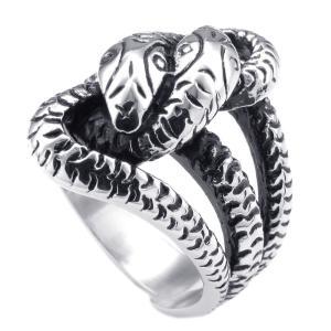 PW 高品質チタンとステンレス 鋳造製法 巻きあう蛇 指輪 / スネークのモチーフ リング シルバー 14-28号可選 幅24mm [ラッピング対応] 条件付送料無料25141|pwatch2014