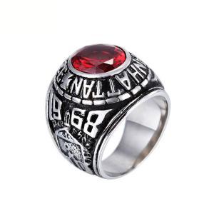 PW 高品質316Lステンレス マンハッタン カレッジリング 指輪 赤黒青緑銀金の7色可選 /  幅22mm 16-24号 28g リング[ラッピング対応] 条件付送料無料60239|pwatch2014