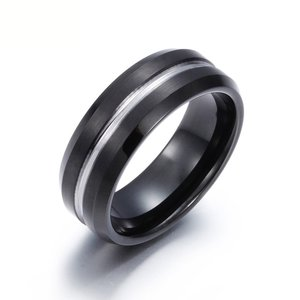 PW 高品質タングステン シンプル 上品 ブラック黒 指輪 / 幅8mm 12-28号 19g  リング[ラッピング対応] 条件付送料無料60387